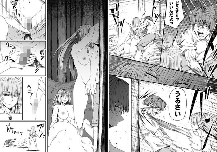 【エロ漫画】エルフ耳の爆乳サキュバスたちが監視部隊のキャンプに潜入したら巨根男性たちにバキュームフェラして寸止め手コキで逆レイプしたら女性隊員には潮吹き手マンしてレズ調教wwおまんこくぱぁしたら騎乗位ピストンしてザーメン搾取w11枚目